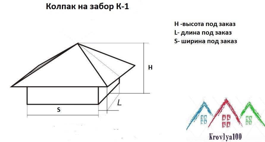 колпак на забор к-1